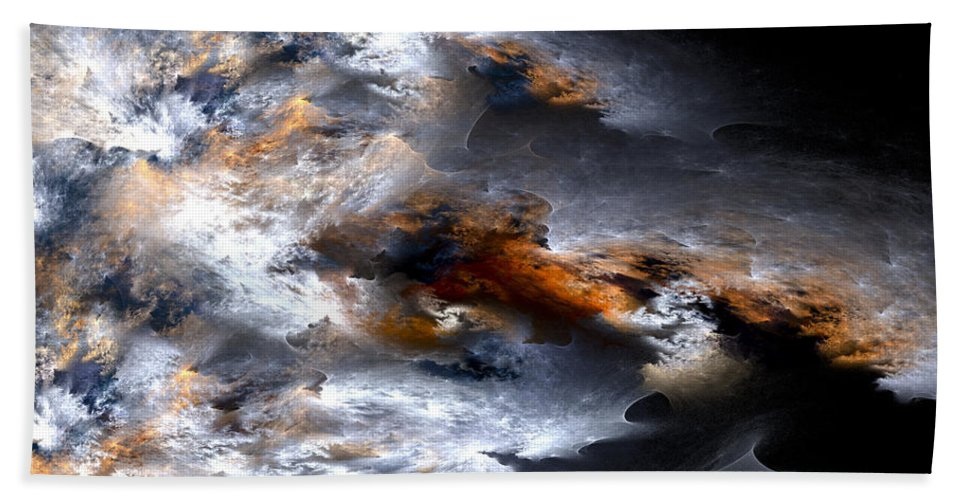 Fractal Hand Towel featuring the digital art Stormy Seas by Amorina Ashton