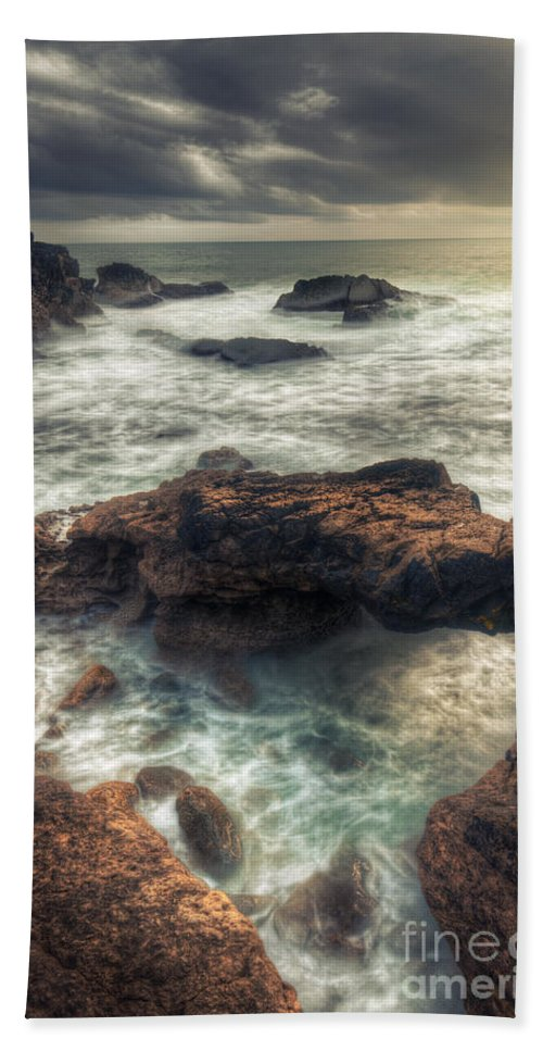 Rain Bath Sheet featuring the photograph Stormy Seascape by Carlos Caetano