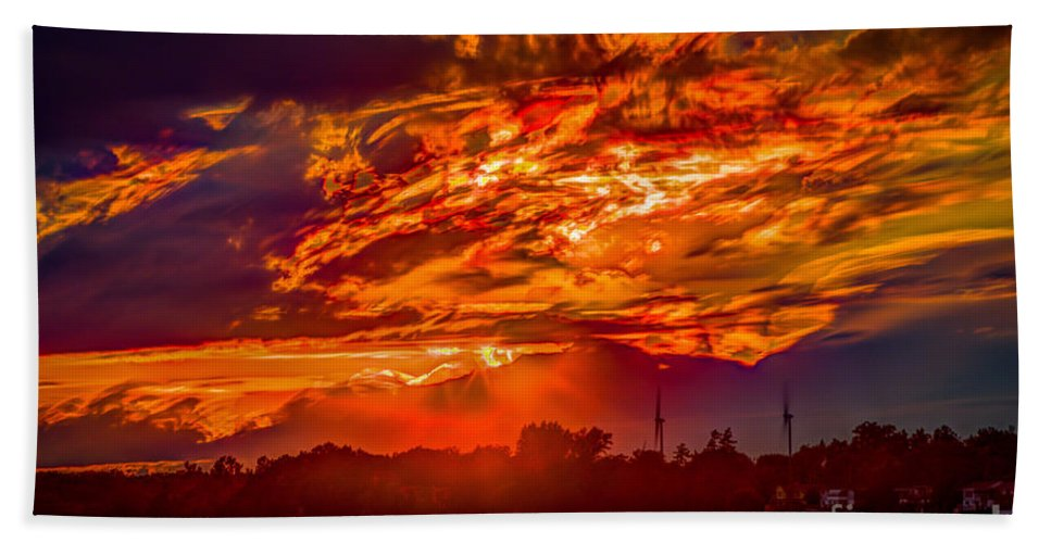 Beach Bath Sheet featuring the photograph Stormy Sunset by Roger Monahan