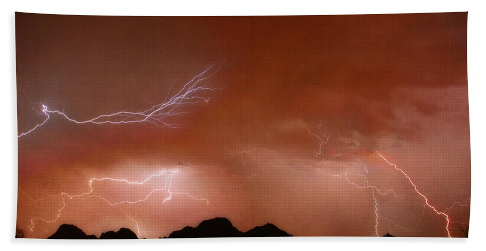 Lightning Hand Towel featuring the photograph Stormy Weather Above The Mountains by James BO Insogna