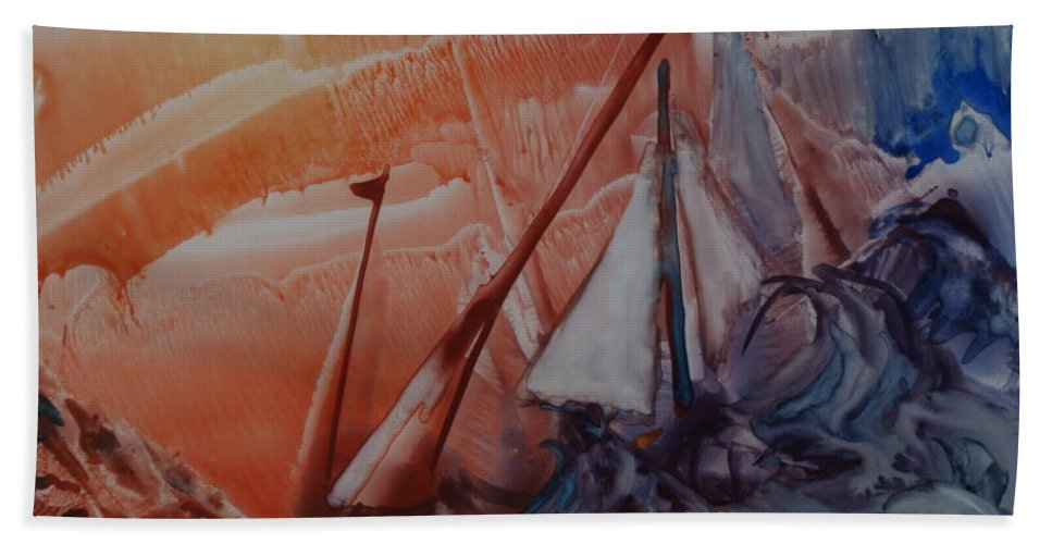 Water Hand Towel featuring the painting Stormy Weather by Joanne Smoley