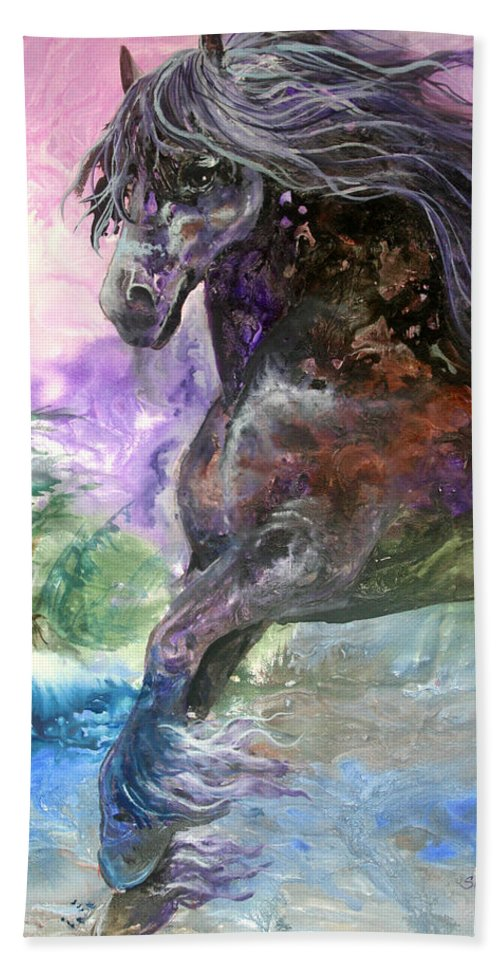 Horse Hand Towel featuring the painting Stormy Wind Horse by Sherry Shipley