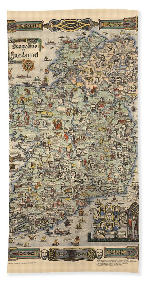 Ancient Map Of Ireland.Story Map Of Ireland Antique Illustrated Map Pictorial Map Historical Map Bath Towel