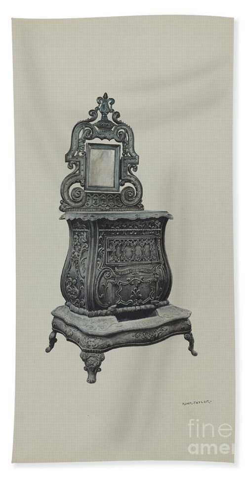 Hand Towel featuring the drawing Stove by Robert W.r. Taylor