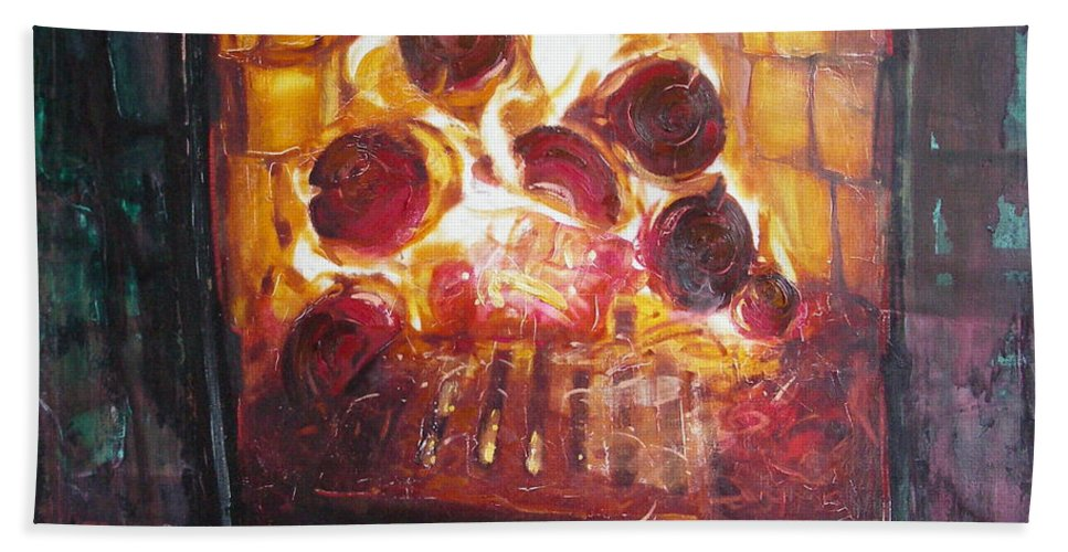 Oil Hand Towel featuring the painting Stove by Sergey Ignatenko