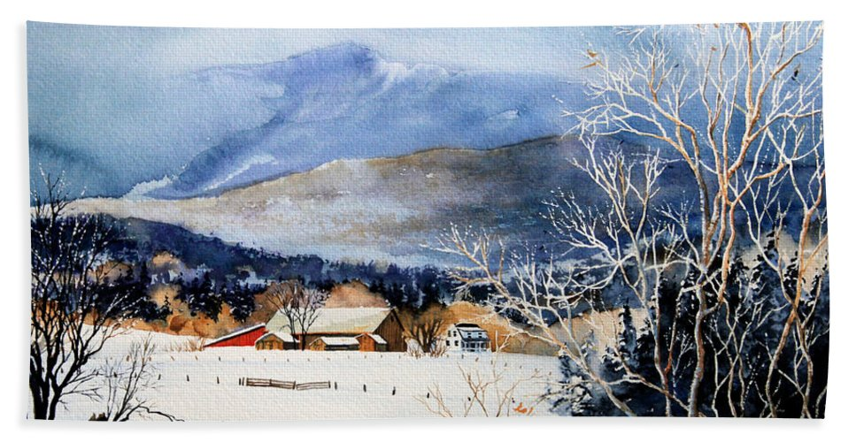 Stowe Valley Farm Painting Hand Towel featuring the painting Stowe Valley Farm by Hanne Lore Koehler