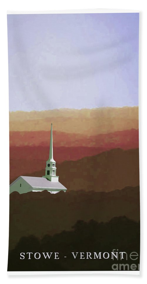 Vermont Bath Sheet featuring the painting Stowe Vermont Fall Poster by Edward Fielding