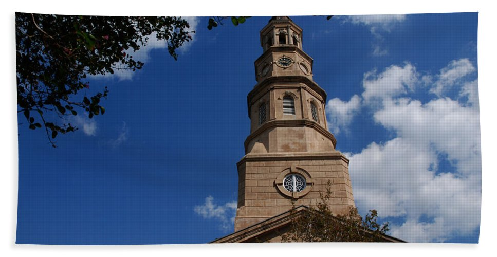 Photography Hand Towel featuring the photograph St.philips Church Charleston Sc by Susanne Van Hulst