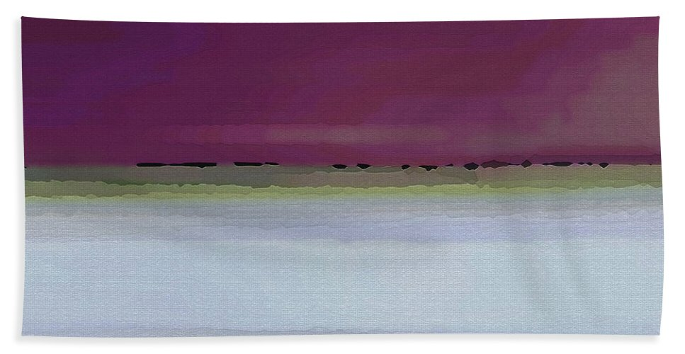 Abstract Bath Sheet featuring the digital art Straight Across by Ruth Palmer