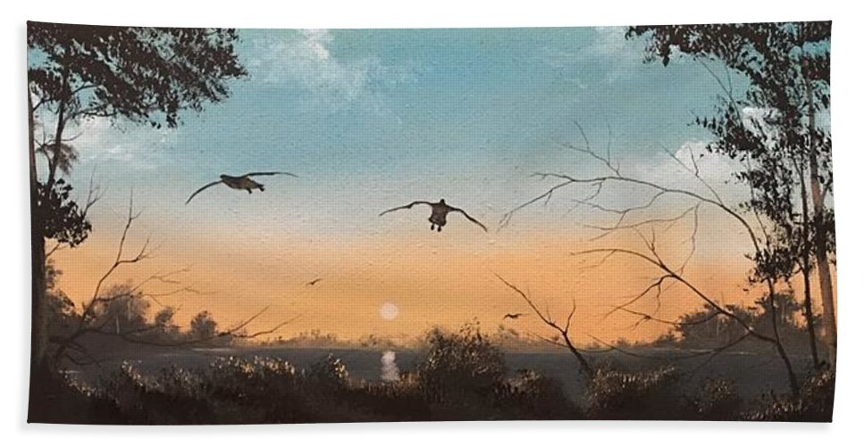 Geese Bath Sheet featuring the painting Straight Ahead by Glen Mcclements