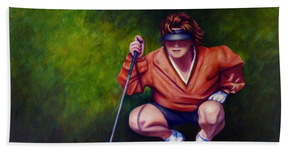 Golfer Bath Towel featuring the painting Straightshot by Shannon Grissom