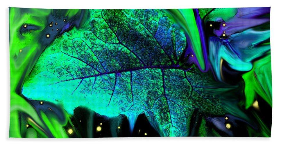 Abstract Bath Towel featuring the digital art Strange Green World by Ian MacDonald