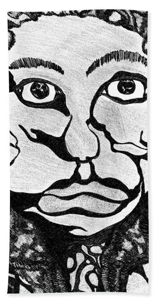 Abstract Hand Towel featuring the drawing Strange Man by Jessica Morgan