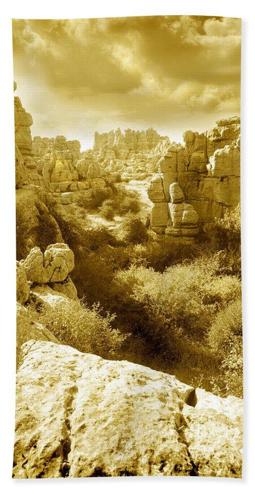 Rock Hand Towel featuring the photograph Strange Rock Formations At El Torcal Near Antequera Spain by Mal Bray