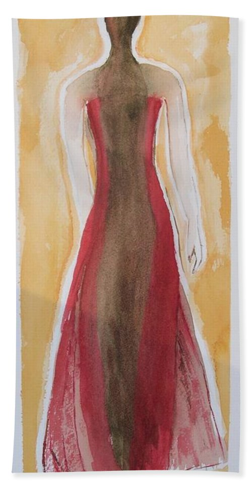 Dress Lady Red Yellow Fashion Hand Towel featuring the painting Stranger by Patricia Caldwell
