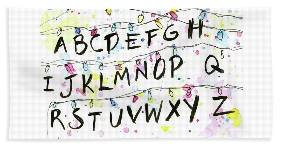 Lights Hand Towel featuring the painting Stranger Things Alphabet Wall Christmas Lights by Olga Shvartsur