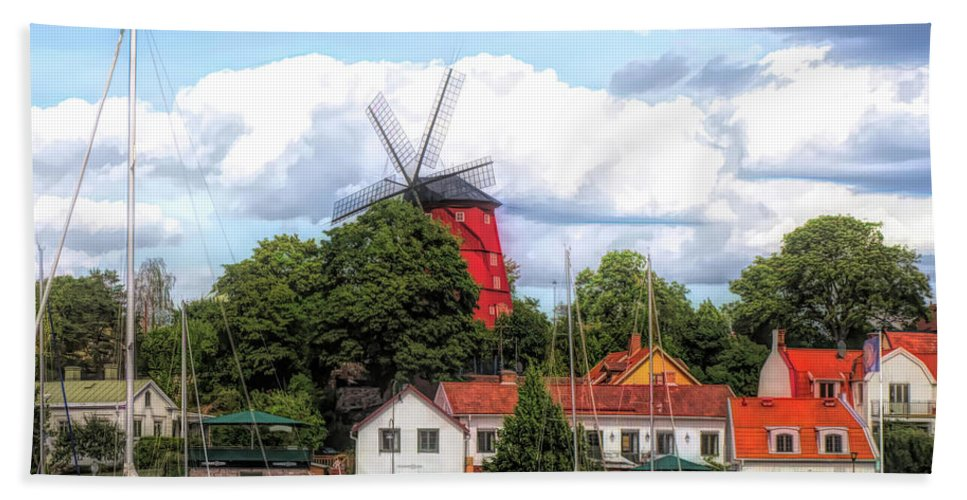 Hand Towel featuring the photograph Windmill In Strangnas Sweden by Barry King