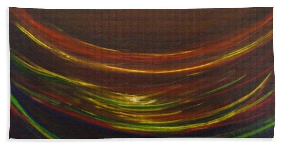 Rainbow Red Yellow Obama Bath Towel featuring the painting Strata Surf by Jack Diamond