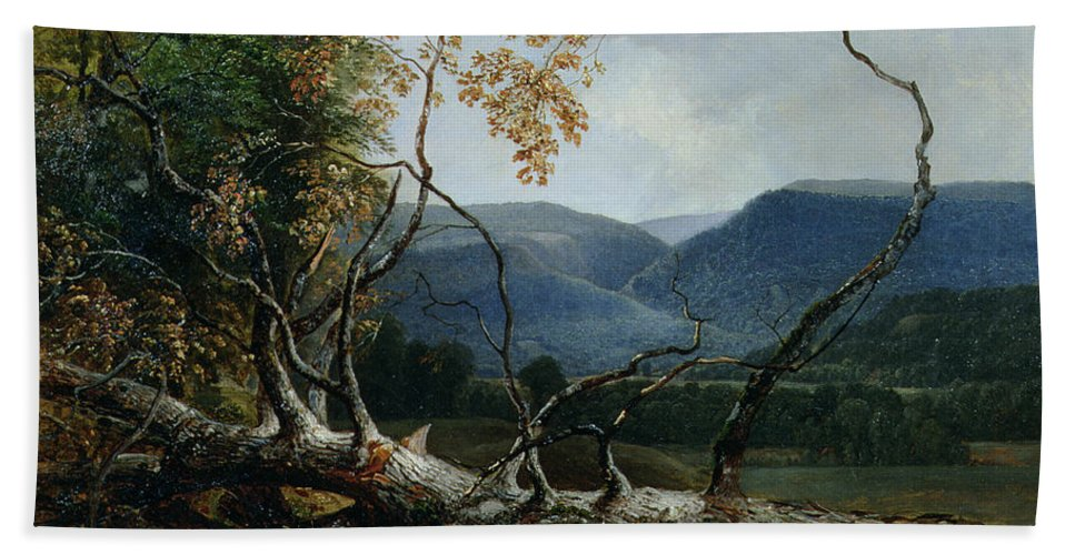 New England; American Landscape; Mountains; Fallen Tree; Trunk; Mountainous; Stratton Mountain; Hudson River School; The Fall Bath Sheet featuring the painting Stratton Notch - Vermont by Asher Brown Durand