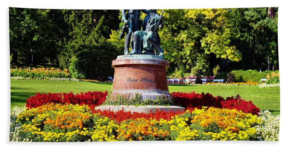Strauss In Flowers Hand Towel featuring the photograph Strauss In Flowers by Mariola Bitner