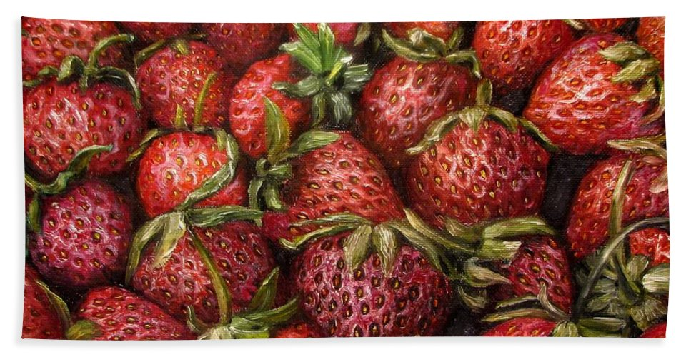 Strawberries Bath Sheet featuring the painting Strawberries -2 Contemporary Oil Painting by Natalja Picugina