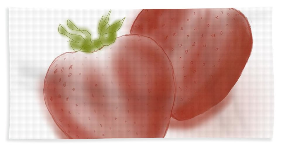 Bath Sheet featuring the painting Strawberries Airbrushed by Jack Bunds