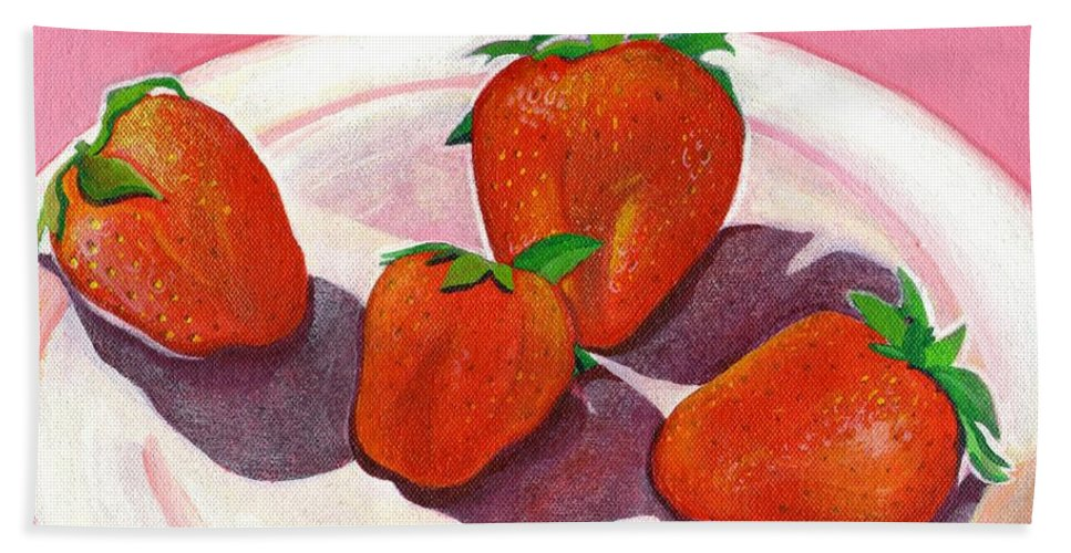Food Hand Towel featuring the painting Strawberries And Cream by Helena Tiainen