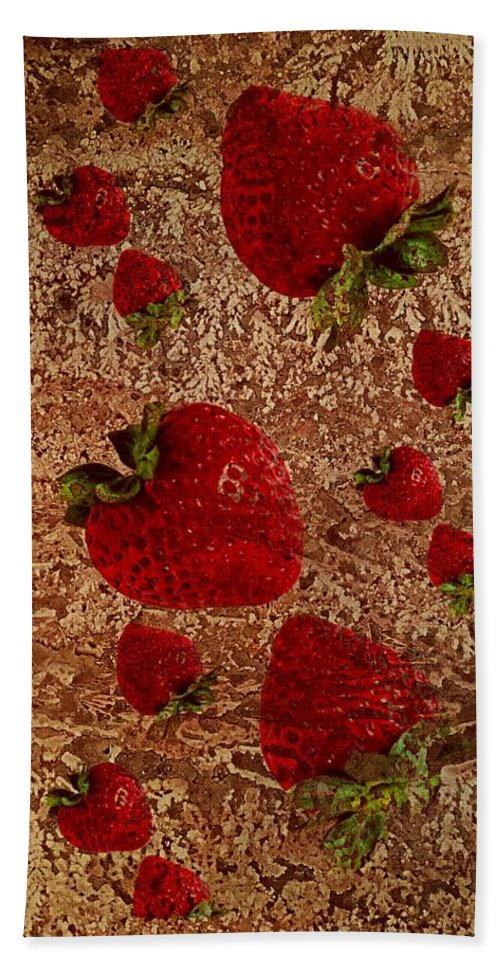 Kitchen Bath Sheet featuring the photograph Strawberries And Stone Slab by Paul Wilford