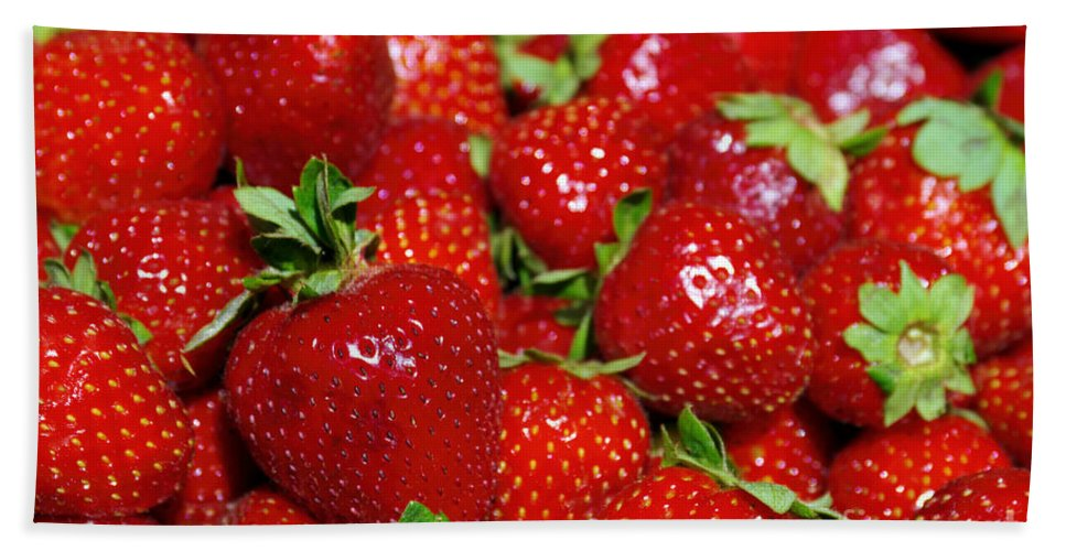 Agriculture Bath Sheet featuring the photograph Strawberries by Carlos Caetano