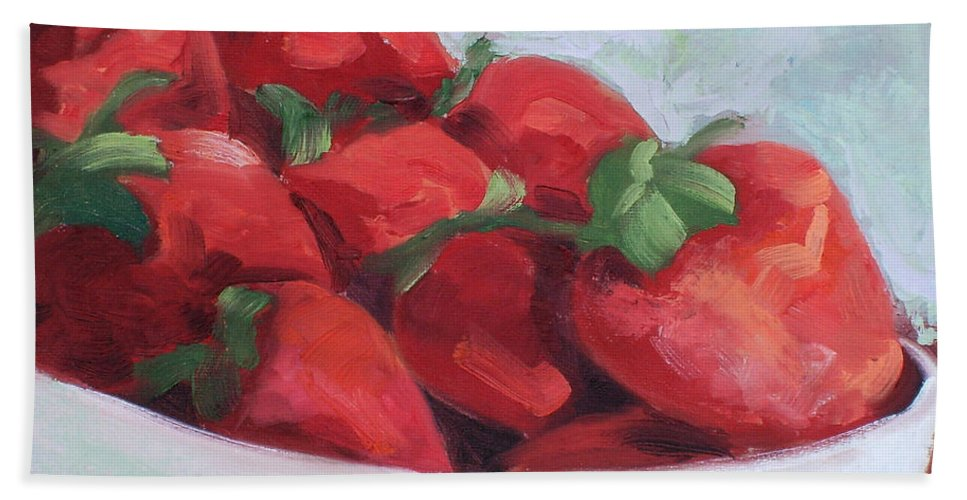 Strawberries Bath Sheet featuring the painting Strawberries by Lewis Bowman