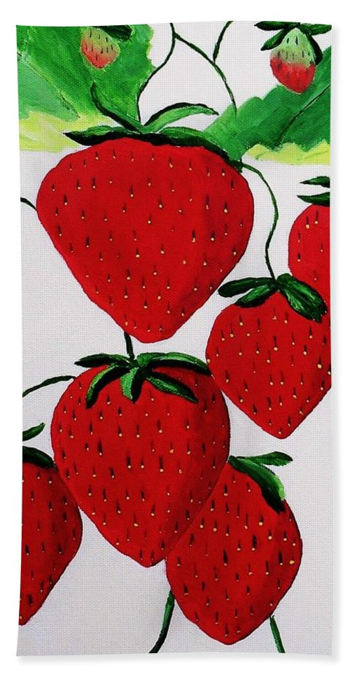 Strawberries Hand Towel featuring the painting Strawberries by Rodney Campbell