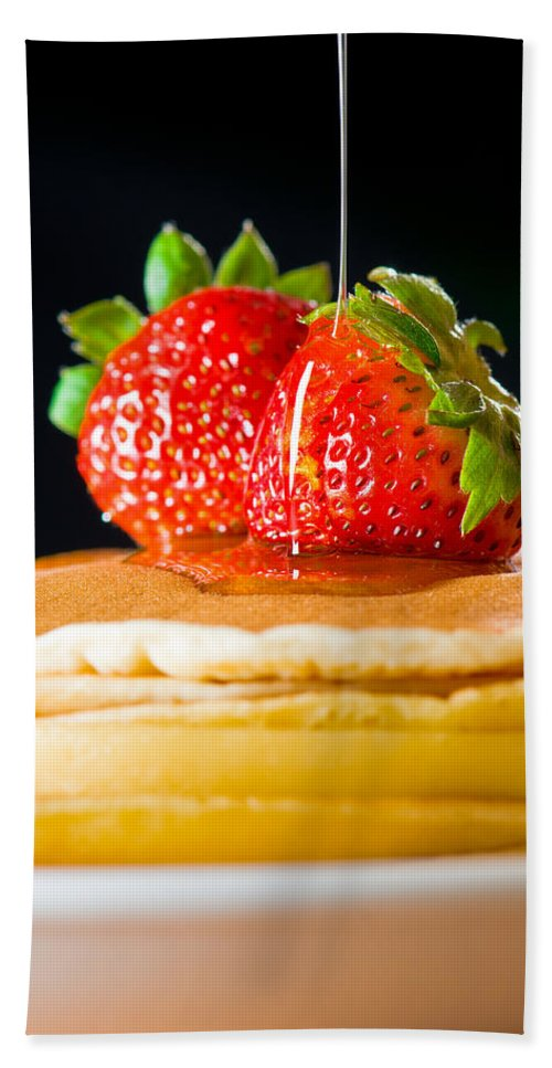 Berries Bath Sheet featuring the photograph Strawberry Butter Pancake With Honey Maple Sirup Flowing Down by U Schade