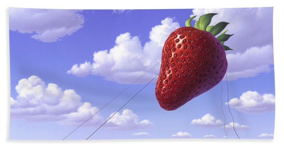 Strawberry Hand Towel featuring the painting Strawberry Field by Jerry LoFaro