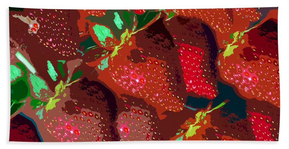 Strawberry Bath Sheet featuring the painting Strawberry Fields Forever by David Lee Thompson