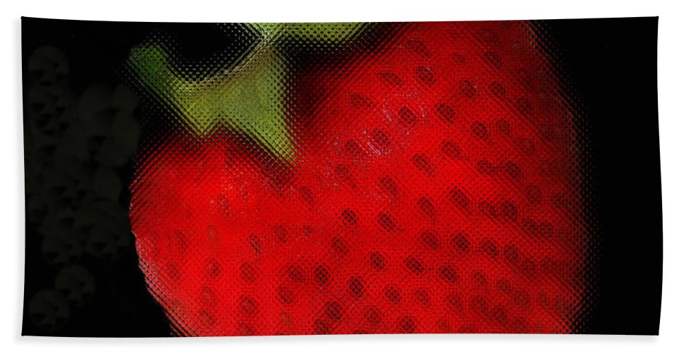 Still Life Bath Sheet featuring the photograph Strawberry by Linda Sannuti