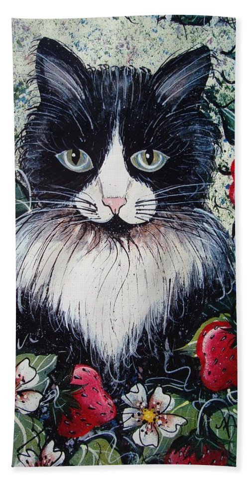 Cat Hand Towel featuring the painting Strawberry Lover Cat by Natalie Holland