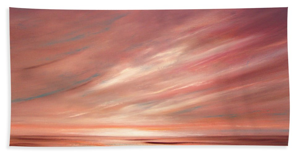 Sunset Hand Towel featuring the painting Strawberry Sky Sunset by Gina De Gorna
