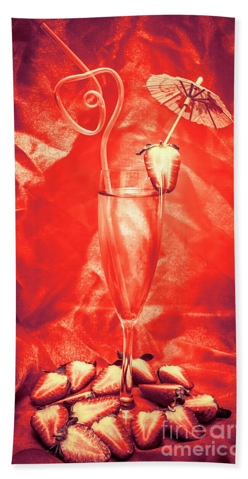 Martini Hand Towel featuring the photograph Straweberry Tropical Cocktail Drink by Jorgo Photography - Wall Art Gallery