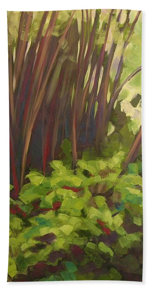 Hawaiian Bath Towel featuring the painting Stream Near Akaka Falls by Mary McInnis