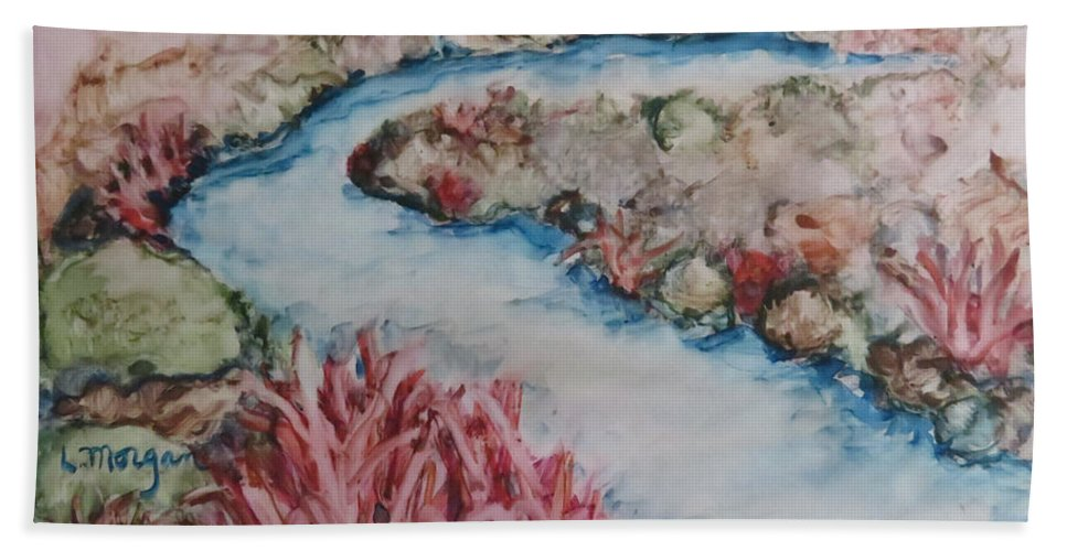River Bath Towel featuring the painting Stream Of Dreams by Laurie Morgan
