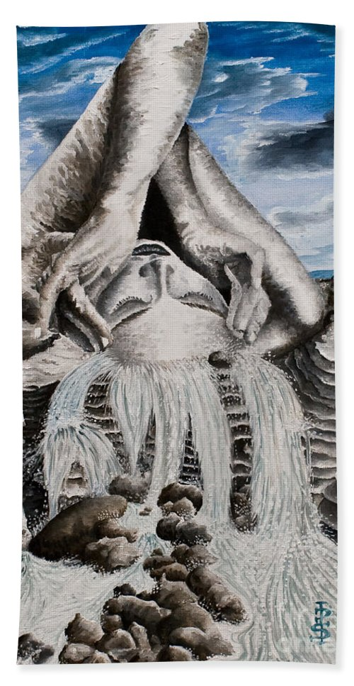 Landscape Portrait Woman Mountains Rocks Stream Water Bath Sheet featuring the painting Streams Of Thought by Pauline Sharp
