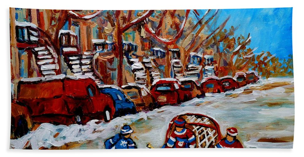 Street Hockey Hotel De Ville Bath Towel featuring the painting Street Hockey Hotel De Ville by Carole Spandau