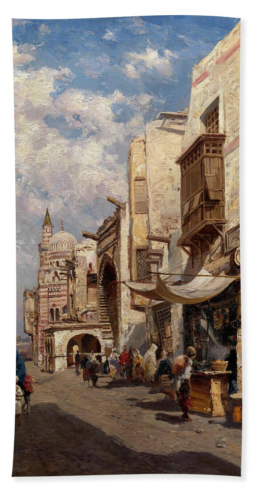 Makovsky Hand Towel featuring the painting Street In Cairo by MotionAge Designs