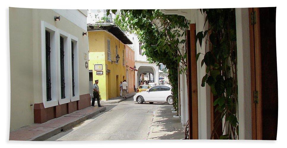Street Bath Sheet featuring the photograph Street In Colombia by Brett Winn