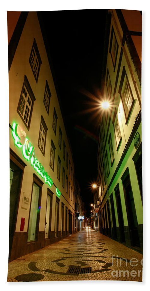 Portugal Bath Sheet featuring the photograph Street In Ponta Delgada by Gaspar Avila