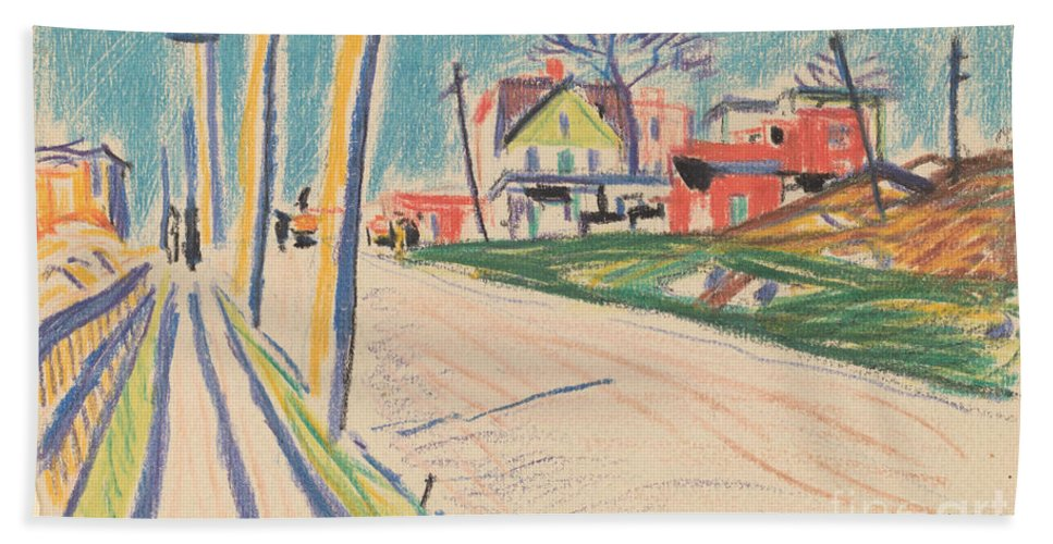 Hand Towel featuring the drawing Street In The Bronx by Oscar F. Bluemner
