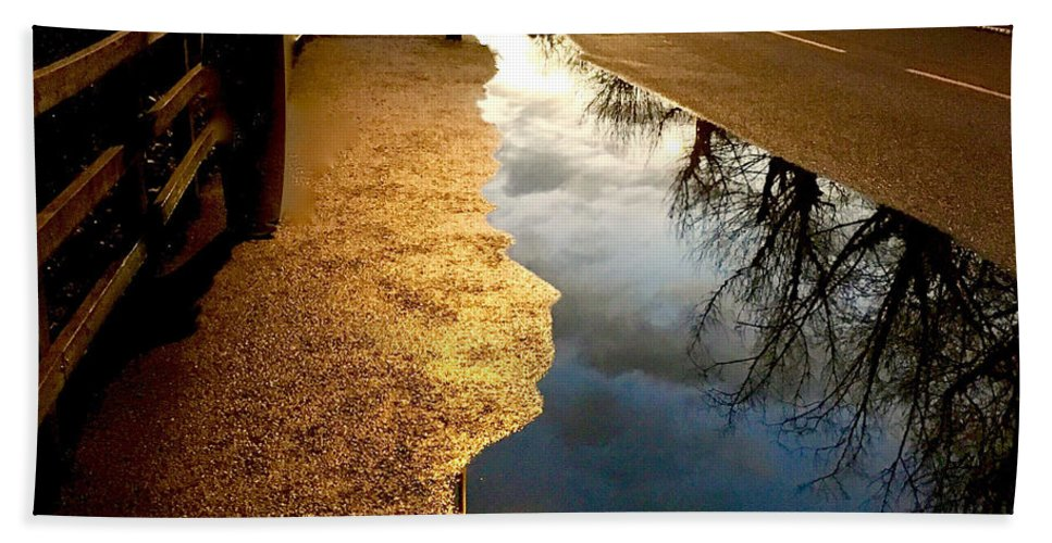 Street Reflections Hand Towel featuring the photograph Street Reflections by Anthony Robinson