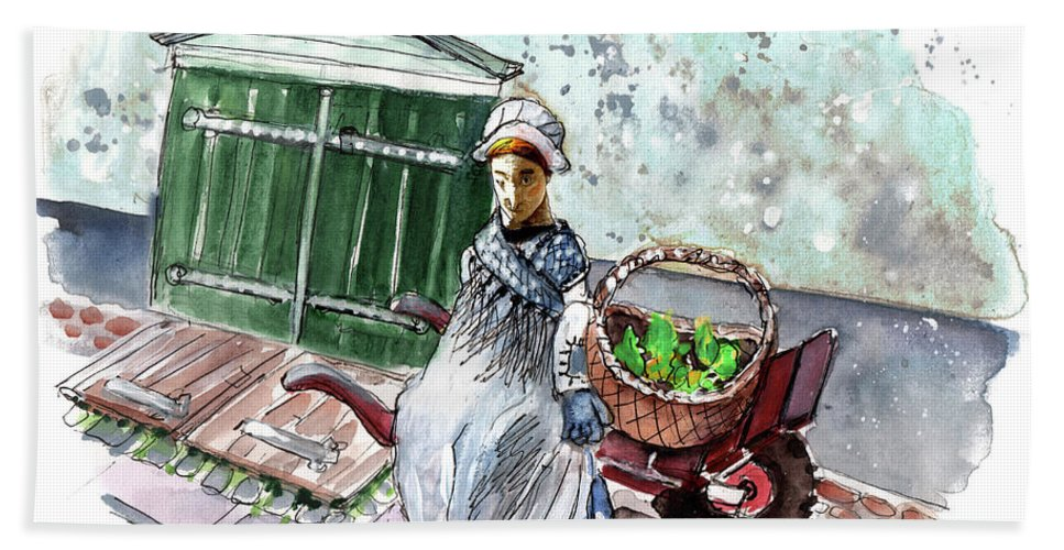 Travel Bath Sheet featuring the painting Street Seller In Helsingor by Miki De Goodaboom