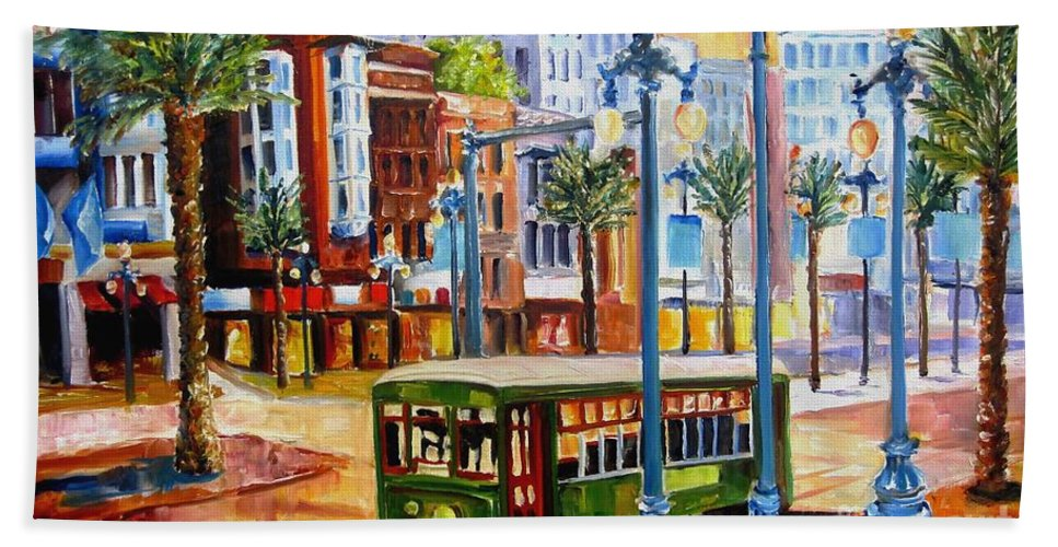 New Orleans Paintings Bath Sheet featuring the painting Streetcar On Canal Street by Diane Millsap