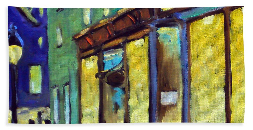 Town Hand Towel featuring the painting Streets At Night by Richard T Pranke